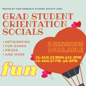 Grad Student Orientation Socials Info Poster